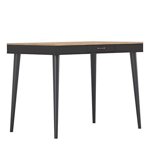 Temahome Horizon Table Haute, Panneau de Particules Mélaminé, Chêne/Noir, 134 X 101 X 85 Cm