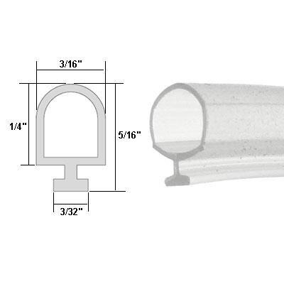 Clear Vinyl Shower Door Bulb Seal - 84 in long