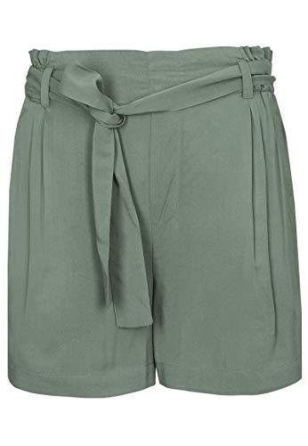 Fresh Made luftige Damen Paperbag Shorts mit Bindegürtel Green M
