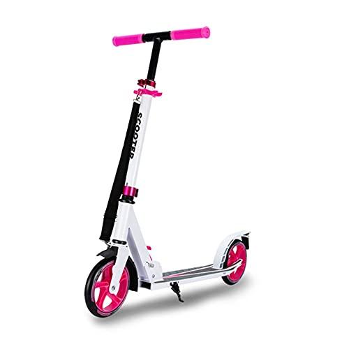 GAOTTINGSD Patinetes para Niños Patinete Plegable,Kick Scooter,Robusto,Altura Ajustable,Pedal Antideslizante Ensanchado para Niños O Adolescentes Mayores De 7 Años (Color : White+Pink)