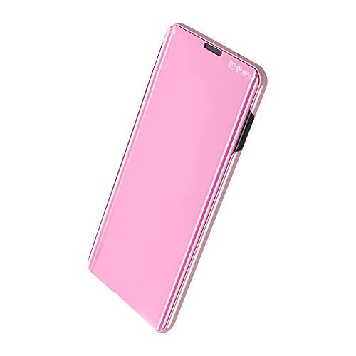 Funda Compatible con Xiaomi Mi 9/Mi 9 SE Carcasa Espejo Mirror Flip Caso Ultra Delgada Protector Shock Absorbing Caja del Teléfono Translucent Window View (Rose Gold, Xiaomi Mi 9 SE)