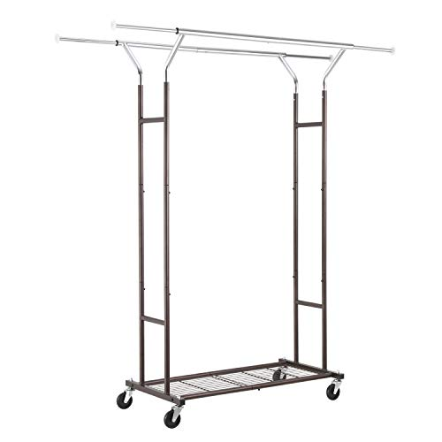 Simple Trending Double Rail Clothing Garment Rack, Heavy Duty Commercial Grade Rolling Clothes Organizer with Wheels and Bottom Shelves, Holds up to 250 lbs, Bronze and Chrome
