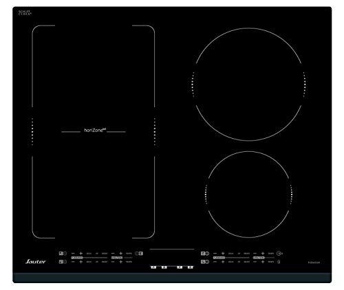 SAUTER - Table de cuisson à induction encastrable – 3 ou 4 foyers : 1 de 2200 W, 1 de 3100 W et 1 de 5000 W scindable en 2 foyers distincts – Commandes tactiles - Dimensions : 60 x 52 cm - Norme CE