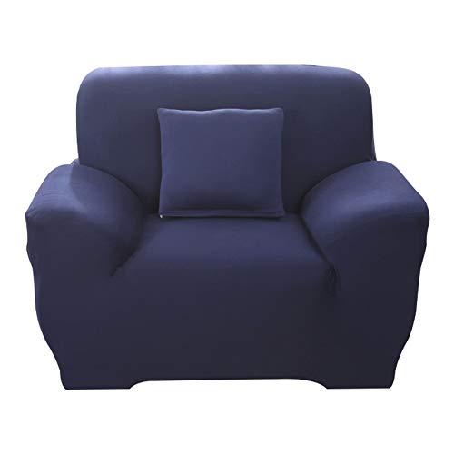 Hotniu 1-Stück Elastisch Sofaüberwurf Sesselbezug, Sofaüberzug Polyester, Sofahusse Sesselhusse Stretch, Sofabezug für Sofa, Couch, Sessel zum Schutz, mehrere Farben (1 Sitzer 90-130cm, Marine)