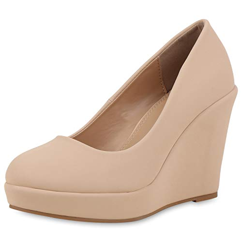 SCARPE VITA Damen Keilpumps Party Keilabsatz Pumps High Heels Plateau Schuhe 168245 Nude 36