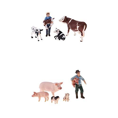 Almencla Cerdos de Vacas de Juguete Realistas de Granja Feliz de Plástico con Granjeros Decoración para El Hogar Ayudas para Niños