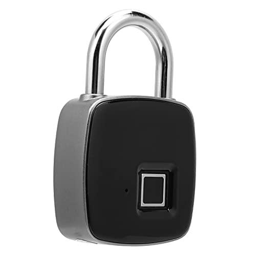 Candado de huellas dactilares, bloqueo de carga USB con Bluetooth, candado inteligente de huellas dactilares con biométrico sin llave para gimnasio, almacén, bicicleta, escuela, valla (negro)