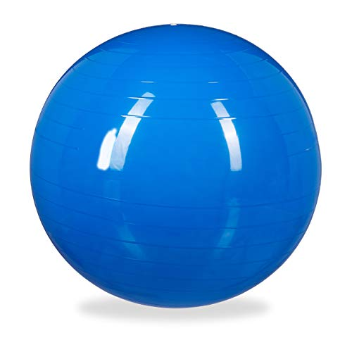 1 x Gymnastikball, Fitnessball Yoga & Pilates, Sitzball Büro, Balance Ball inklusive Luftpumpe, Ø 75 cm, blau