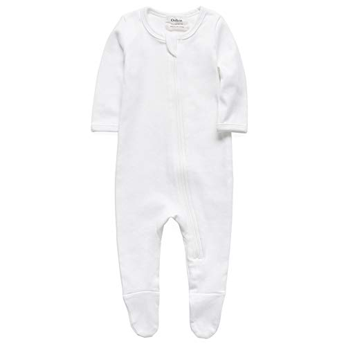 Baby Boys Girls Organic Cotton Zip Front Long Sleeve Pajamas, Footed Sleep 'n Play(12-18Months, White