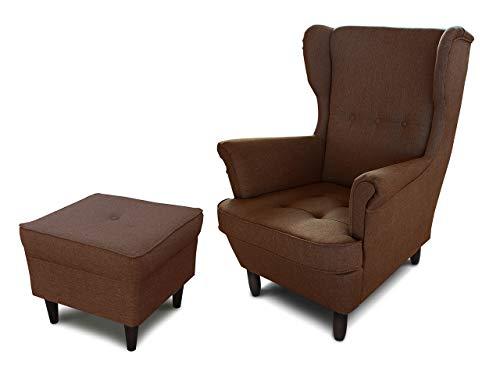 Ohrensessel Sessel King - Lounge Sessel mit Armlehnen - Retro Stuhl aus Stoff mit Holz Füßen - Polsterstuhl für Esszimmer & Wohnzimmer (Braun (Inari 24), mit Hocker)