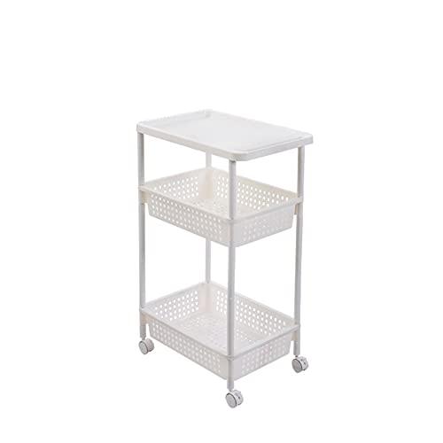 Carrito de verdulero de 3/4 Niveles Blanco con Ruedas plástico para baño, Cocina,3 Floors