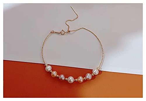WJCRYPD Pulseras para Mujer 18K Oro Mujeres Brazalete Single Perlas Coloridas Ajustable Cadena Multi Luz Color Oro Amarillo Qf Shop (Color : Multi)