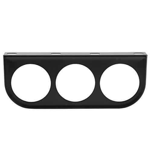 Soporte de montaje de calibre de 52 mm con 3 orificios Panel de instrumentos Soporte de montaje de calibre Soporte de hierro para coche Negro Plata(Negro)