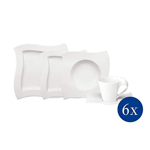 Villeroy & Boch NewWave Basic Tafelservice für bis zu 6 Personen, 30-teilig, Premium Porzellan, Weiß