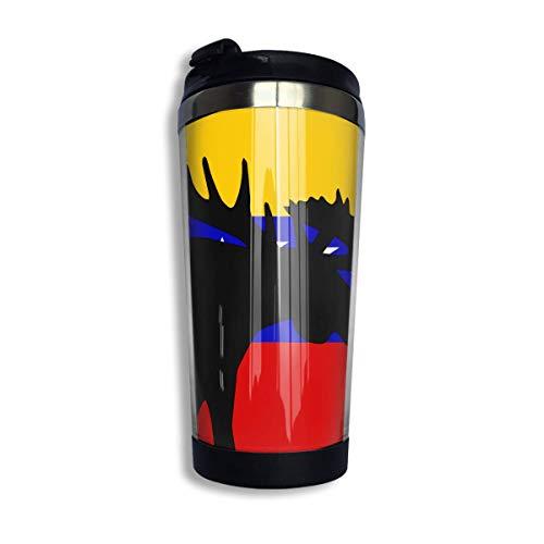 Bandera de Venezuela Taza de café de luna de alces con tapa para té, café, viaje, taza de café, acero inoxidable, 400 Ml