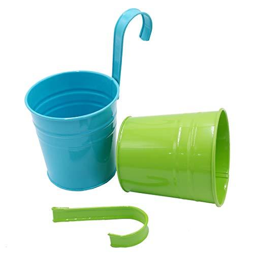 GIOVARA Metall-Blumentopf-Eimer zum Aufhängen, Übertopf mit Abflussloch, mit abnehmbarem Haken, für Garten/Balkon/Wohndekor (10 Stück im Sortiment in 10 Farben) - 7