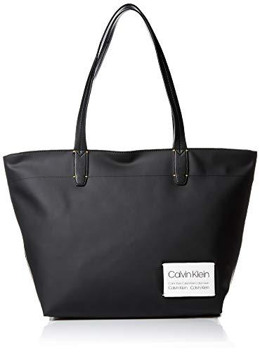 Calvin Klein Celia Vegan Leather Water Resistent Small Tote, black/silver