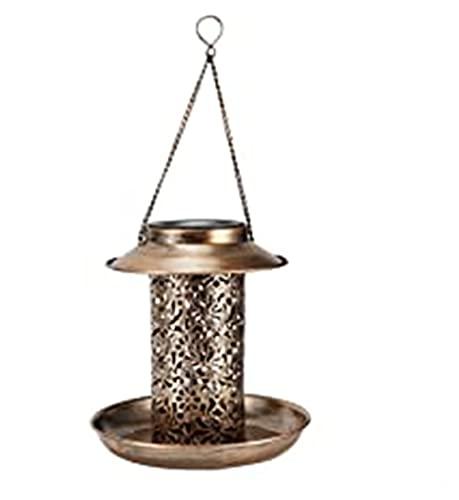 Hierro Color Metálico Alimentador de Pájaro Solar Césped Luz Al Aire Libre Colgante Concepto de Alimentación Bandeja Jardín Decoración Alimentador