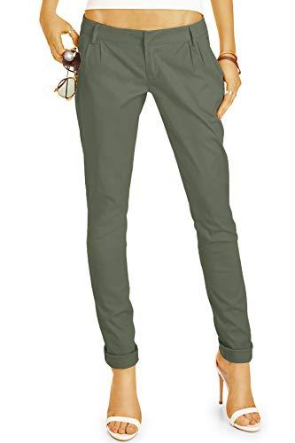 bestyledberlin BE Styled Damen Chinos - Stoffhosen, röhrige hüftige Passform, mit Bundfalten h20a 38/M Khaki