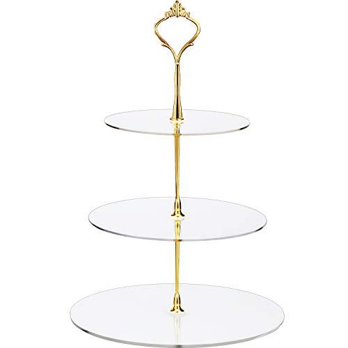 Maitys Plato de Frutas de Torre de exhibición de postres con Soporte de Cupcake Transparente Redondo de acrílico de 3 Niveles