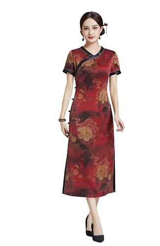HangErFeng Vestido Midi De Seda Fragante Nube Hilado Chino Peony Impresión Joven Vestido De Moda 2504, Rojo, Medium / Large
