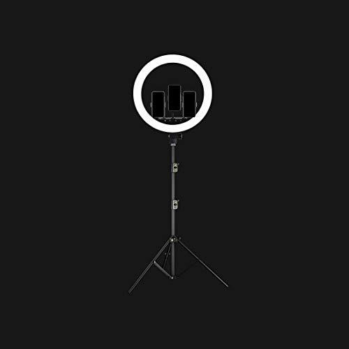 Verlichtingsset, ringlicht LED SMD, dimbaar, cliphouder voor smartphone, voor YouTube video's. zwart