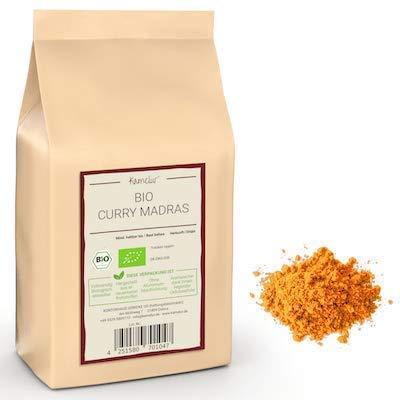 250g di BIO Madras Curry Powder mild - polvere di curry caldo alla frutta prodotta con le migliori spezie BIO - in confezione biodegradabile