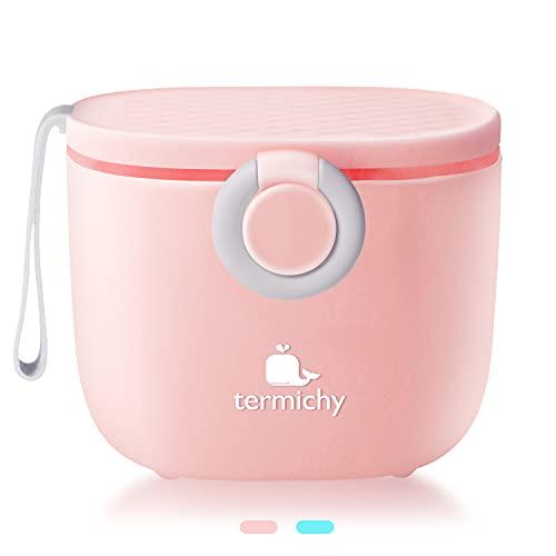 Termichy - Dosificador de leche en polvo, 250 g, portátil, hermético, con espátula y cuchara (rosa)