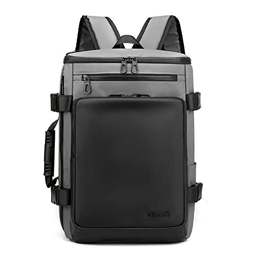 35L Zaino Da Viaggio Impermeabile Durevole Laptop Zaini Convertibile Business Daypack Duffel Bag per Uomini Donne, Grigio,