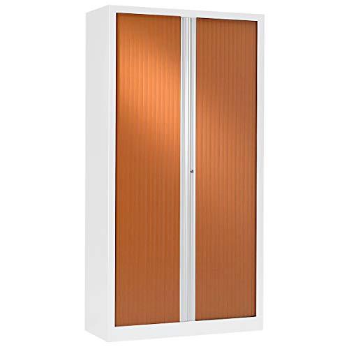 Armoire Monobloc à rideaux | Blanc | Merisier | HxLxP 1980 x 1000 x 430 | Certeo