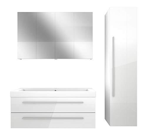 AcquaVapore Badmöbel Set City 101 V4 Hochglanz weiß, Badezimmermöbel, Waschtisch 120 cm JA mit 2x 5W LED