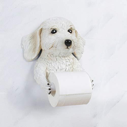 Yiyu Funny Dog Shaped Tissue-Behälter-Kasten, Tier Tissue Box Cover Serviettenhalter, An Der Wand Befestigtes WC Papierrollenhalter Spender, for Die Speicherung x (Color : White)