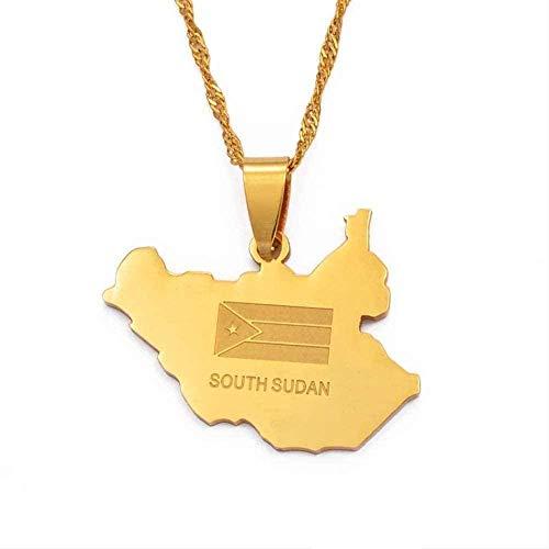 ZGYFJCH Co.,ltd Collar Mapa de Sudán del Sur Collares Pendientes Mapas de Color Dorado Collar de joyería de Sudán del Sur Regalo