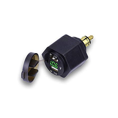Bordsteckdose Stecker,Dual USB Ladegerät Adapter mit LED Voltmeter für BMW Motorrad/Handy/iPhone/GPS/SatNav