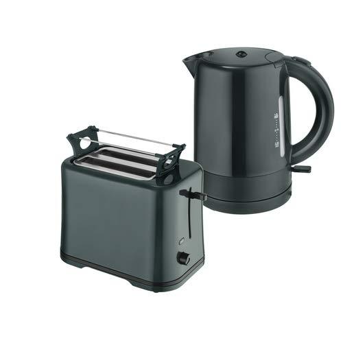 Efbe-Schott Frühstücksset WK 1080 + TO 1080 Wasserkocher 1 L und 2-Scheiben-Toaster Dunkelgrün