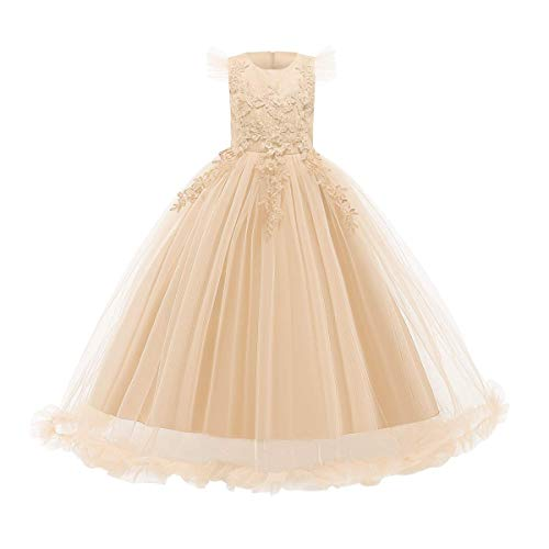 Big Little Girl Princess Embroidery Flower Lace Long A Line Pageant Dress Kids Floor Length Prom First Communion Bowknot Dress Puffy Tulle Ball Gown for Wedding Party Birthday Champagne 11-12 Years
