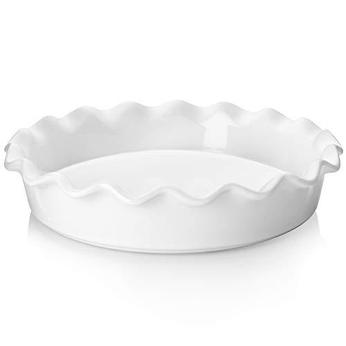 Teocera Porzellan-Pie-Pfanne zum Backen, Kuchenform, runde Tortenplatte mit gerüschtem Rand, 26,7 cm, für Apfelkuchen, Topfkuchen – 1 Stück, weiß
