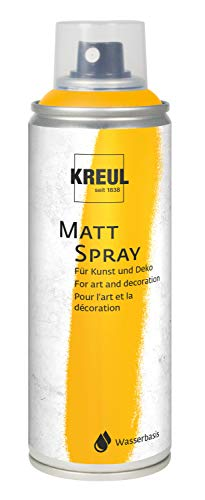 Kreul 76362 - Farbspray, gold 200 ml, klassisch matte Sprühfarbe auf Wasserbasis, hochpigmentiert und wasserfest, styropofest, für Innen und Außen