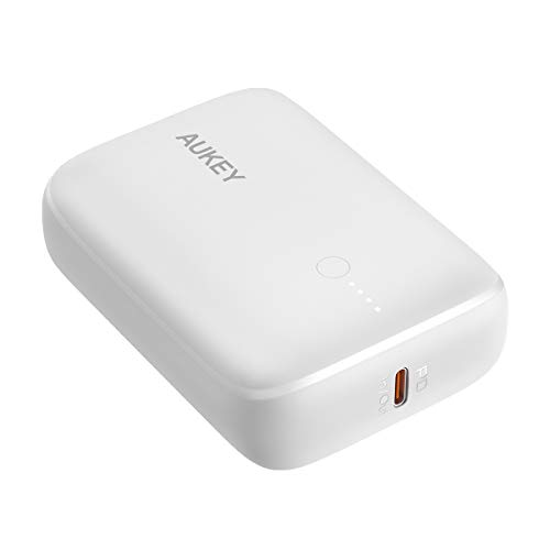 モバイルバッテリー 大容量 コンパクト AUKEY オーキー Basix Mini PB-N83 10000mah 18W PD対応 パススルー スマホ iPhone Android 充電 USB type-c タイプC おしゃれ 2年保証 (ホワイト)
