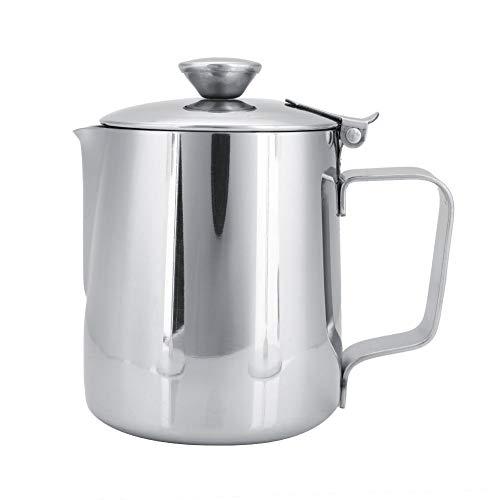Milchkännchen Mit Deckel Edelstahl - Edelstahl Kaffeetasse Becher Milchschaum Krug Krug mit Deckel für Latte Coffee Art(600mL)