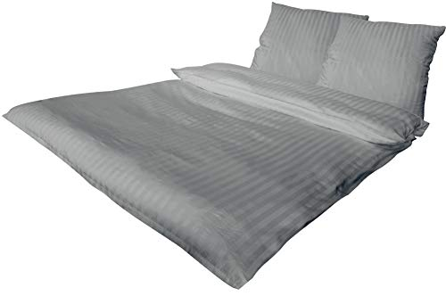 Bettwäsche 2 teilig luxuriöse Hotel DAMAST Mako Satin Baumwolle Premium 1x 135x200 cm + 1x 80x80 cm Kissenbezug mit Reißverschluss Silber, 2 teilig 135x200+80x80 cm