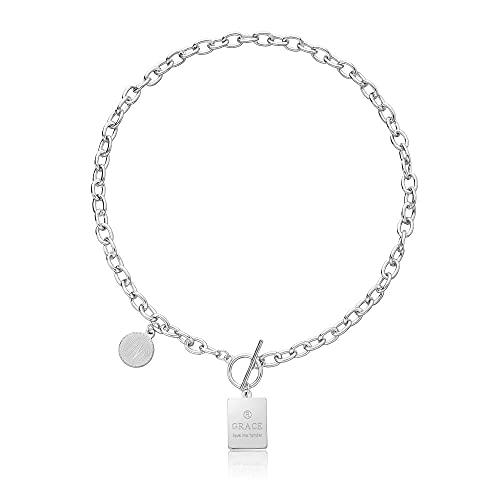 Collar Geométrico Cuadrado Metal Etiqueta de Acción de Gracias Collar Moda All-Match English Grace Collar