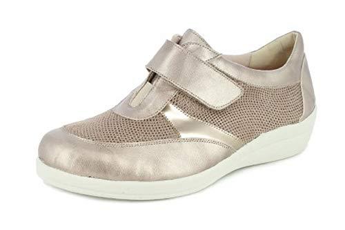 Zapato Mujer DOCTOR CUTILLAS, en Piel Adaptable Color Beige, velcros. Mod.43637 (Beige,...