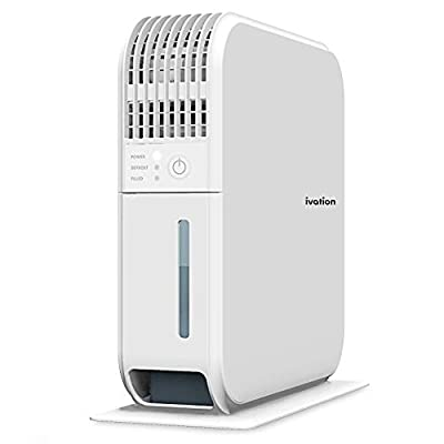 Ivation Thin and Compact 400mL Dehumidifier for 30 sq ft, Quiet Mini Peltier Thermoelectric Operation with UV Light for Home, Kitchen, Bedroom, Bathroom, Basement, RV and Garage by Ivation