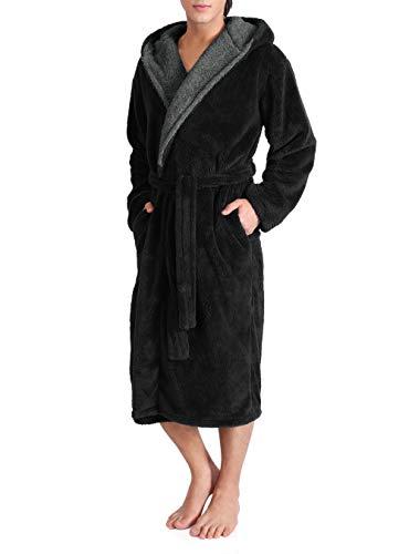 DAVID ARCHY Men's Hooded Fleece Plush Soft Shu Velveteen Robe Full Length Long Bathrobe (M, Black)