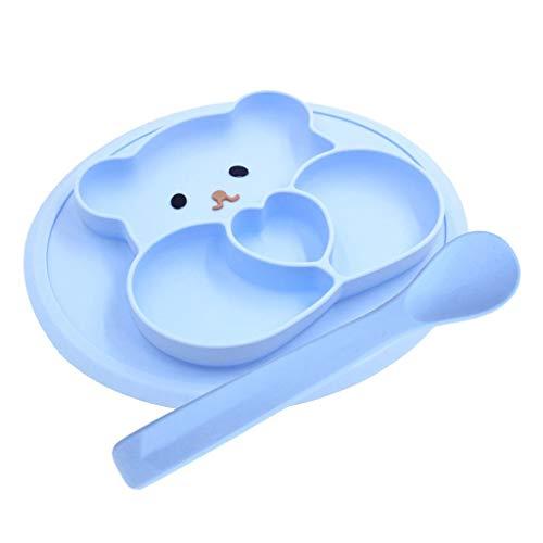 Silikon-Teller für Kinder Teilung Wasserdicht Kippschutz Tischset Für Esstisch (Color : Blue)