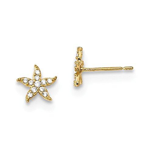 14K Yellow Gold Madi K Childrens CZ Starfish Post Earrings