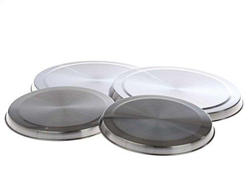SIDCO Herdabdeckplatten 4 Stück Kochplatten Abdeckung Kochfeldabdeckung Edelstahl rund