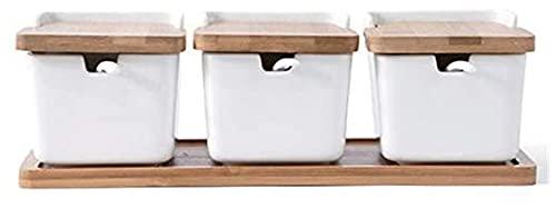 Kruiden Kruidenpotten Kommen met lepel en porseleinen doos en bamboe Cover Opslagcontainer Creature JARS van 4 set Yuechuang