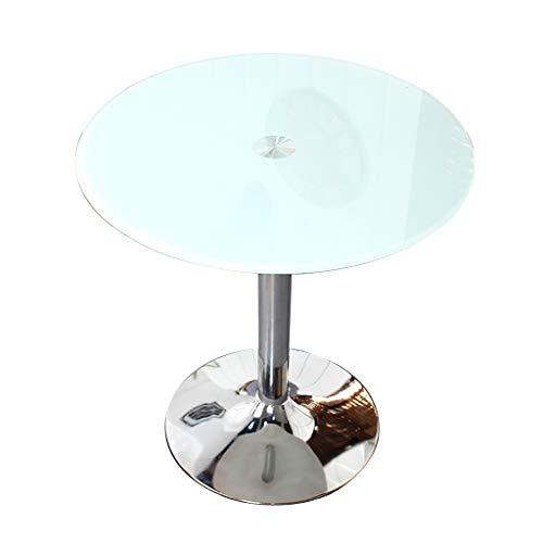ZWJLIZI Kaffeetisch, Nordic ins Stil wissen gehärtetes Glas Kleiner runder Tisch, kann als...